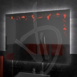 Specchio su misura, con decoro A027 inciso, colorato e illuminato e retroilluminazione a led
