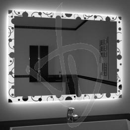 Specchio su misura, con decoro A030 inciso e illuminato e retroilluminazione a led