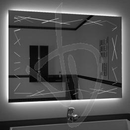Specchio su misura, con decoro A037 inciso e illuminato e retroilluminazione a led