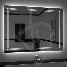 Specchio su misura, con decoro B021 inciso e illuminato e retroilluminazione a led