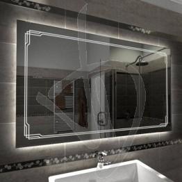 Specchio su misura, con decoro B004 inciso e illuminato e retroilluminazione a led