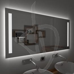 Specchio su misura, con decoro B012 inciso e illuminato e retroilluminazione a led