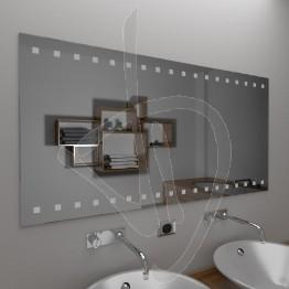 Specchio bagno, con decoro B014