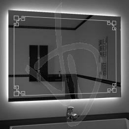 Specchio su misura, con decoro B013 inciso e illuminato e retroilluminazione a led