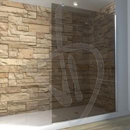 Vetro doccia fisso, su misura, in vetro bronzato