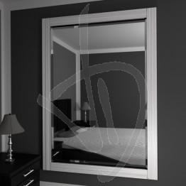 Specchio grande da parete, con cornice in legno massello in frassino, sbiancato