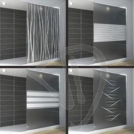 Vetro doccia nicchia, su misura, in vetro satinato decorato