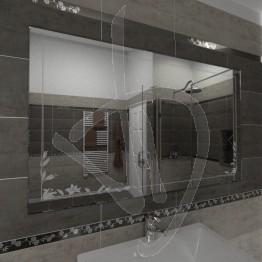 Specchio bagno design, con decoro C015