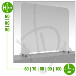 Parafiato in plexiglass trasparente, pannello frontale antiribaltamento con passacarte