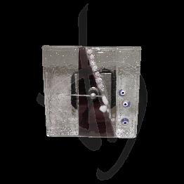Orologio da tavolo in vetro di Murano, tonalità viola scuro, realizzato a mano