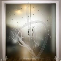 Porta scorrevole decorata in vetro, su misura (decoro opzionale)