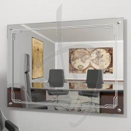 Specchio arredo, con distanziali e decoro B004