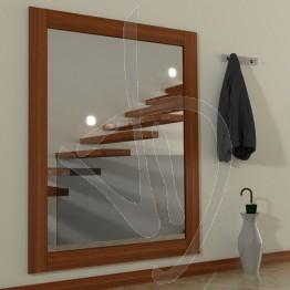 Specchio su misura, con cornice in legno massello, tinta ciliegio