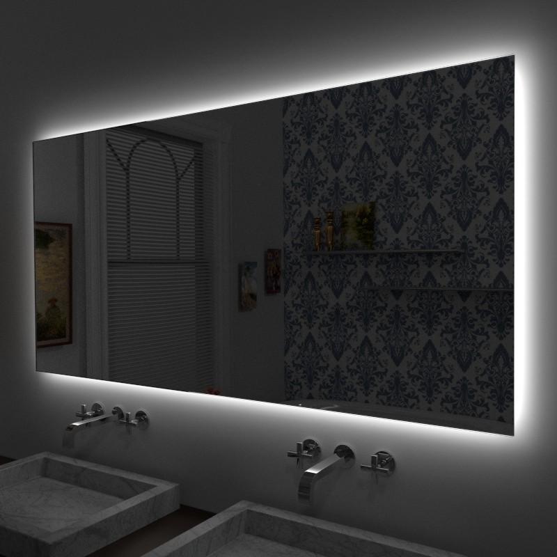 Specchio illuminato su misura online specchio su misura - Specchio con luce per bagno ...